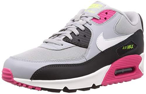 Nike Herren AIR MAX 90 Essential Leichtathletikschuhe, Mehrfarbig (Wolf Grey/White/Rush Pink/Volt 000), 43 EU