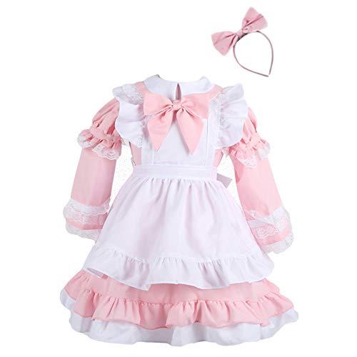 Disfraz Lolita para Mujer Niña Traje De Sirvienta Carnaval Y El Cosplay Pink 90-100cm