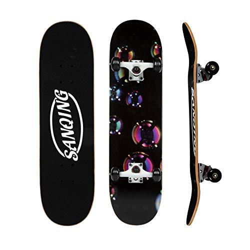 DINGYU Skateboard estándar Canadian Maple Doble Kick Concave Principiante Cuatro Rueda Skateboard Brush Street Highway para niños Adulto,Bubbles