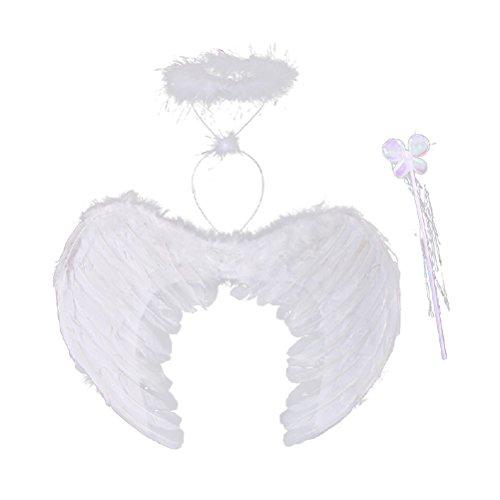 Fenical Disfraz de ángel aureola con plumas, alas de varita mágica para niños, 3 unidades, tamaño S (blanco)