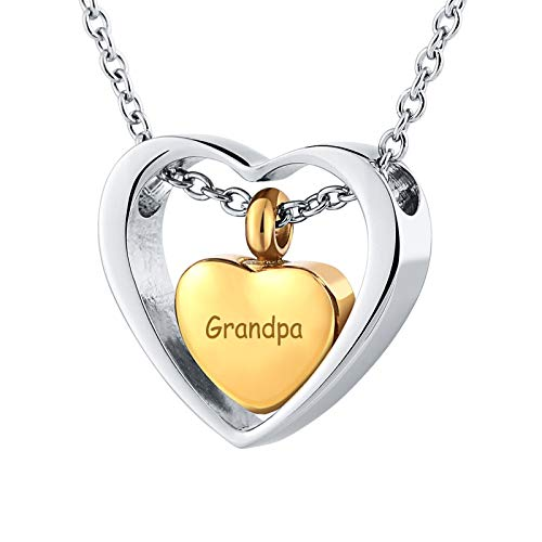 AueDsa Collar Cenizas Hombre Mujer Acero Inoxidable Colgante Urna Cenizas Oro Grabado Grandpa