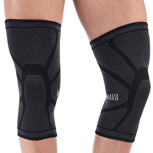 Mava Sports Bundle - Knee Compression Sleeve Support (2 Pairs) (Black, Medium)