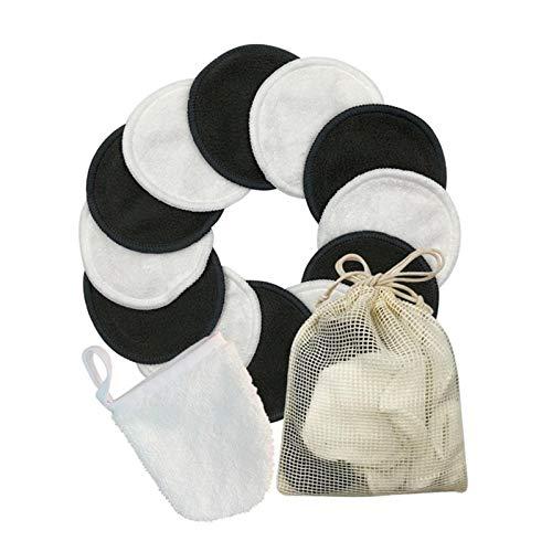 12/16 PC reutilizable lavable redonda de bambú maquillaje Remover almohadillas de algodón con guantes de bolsa de almacenamiento for la piel productos for el cuidado de lavandería ( Color : 12pcs )