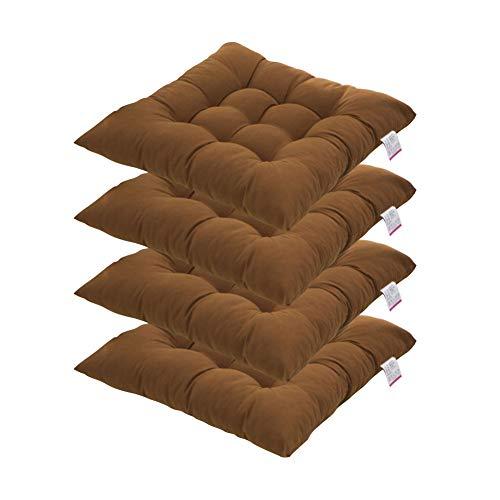 4er Set Stuhlkissen Sitzpolster Sitzkissen für Garten Terrasse Küche Essen 40x40 cm