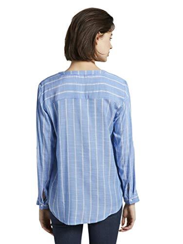 TOM TAILOR Damen Blusen, Shirts & Hemden Strukturierte Bluse Blue Stripe Vertical,40,22803,6000