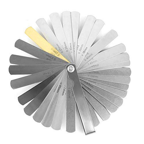 32枚組 シックネスゲージ ストリングアクションルーラー ステンレス シックネス ゲージ 隙間 ゲージ 測定工具 厚さ ゲージ ギター弦高 薄さ 測り 隙間測定・弦高・弦間調整に 0.04-0.88mm