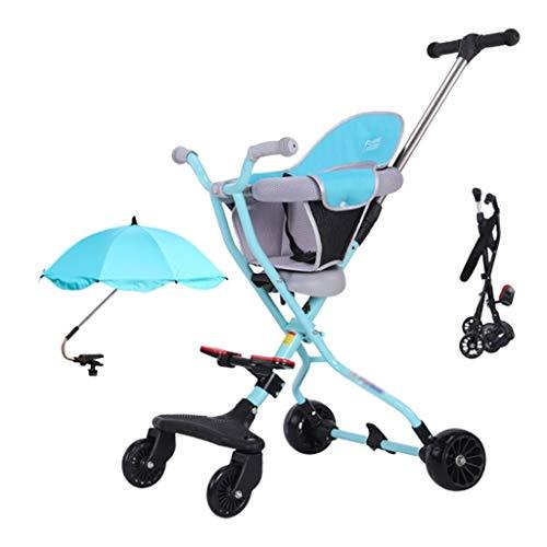 QIFFIY Cochecito de bebé Cochecito De Bebé De 1 A 5 Años Triciclo De Niño Ligero Carrito Plegable Cojín Y Cinturón De Seguridad Ajustables Carrito De Bebé Carriola (Color : Blue)