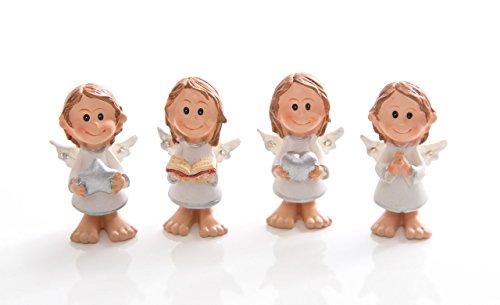 Logbuch-Verlag 4 kleine Mini-Schutzengel Engel Engelfiguren 4,5 cm zur Kommunion Weihnachten Firmung Taufe als Tisch-Deko Mitgebsel Gastgeschenk give-away