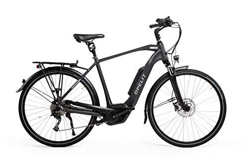 """OPELIT Taunus Blitz Sport Trekking E-Bike, Herren Fahrrad Aluminium Rahmen 28"""" anthrazit matt, 24 Gang Shimano Acera – Motor, Display & Akku von Bosch"""