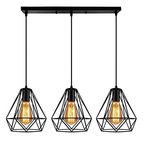 Lámpara colgante LED E27, vintage, retro, industrial, de techo, de pared, de metal, lámpara de hierro, para mesa de comedor, dormitorio, bar de café