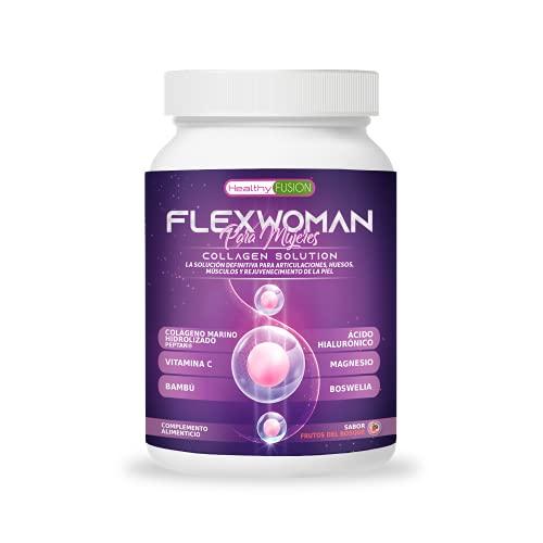 Flexwoman Plus | Colágeno Marino + Glucosamina + Vitamina C | Formulado para mujeres | Alivia dolor en músculos, articulaciones y huesos | Potente antiinflamatorio. Acción analgésica | 400g