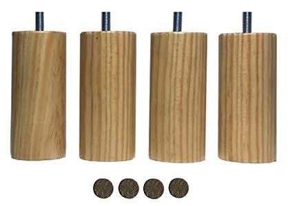 mobiliarioclichi Patas somier de Madera Maciza con Tuerca de métrica 10 Patas de Cama Patas para Bases tapizadas Diferentes Alturas. (4 Unidades 10 cm, Natural)