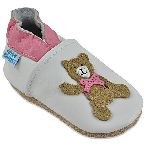 Juicy Bumbles Chausson Enfant - Chaussure Bebe Fille - Chaussures Bebe Filles - Chaussons Cuir Souple - Nounours - 2-3 Ans