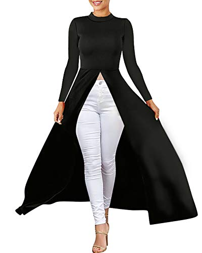 Maxi Dresses for Women - High Low Top Long Sleeve Front Split Blouse Shirt Dresses