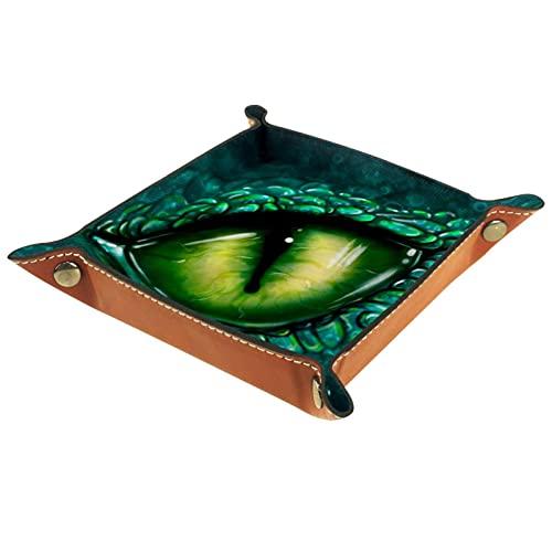 Bandeja cuadrada plegable para dados para juegos de dados DND, caja de almacenamiento para llaves de caramelo, ideal para almacenamiento en la oficina, cocina, aula, baño ojos de dragón verde