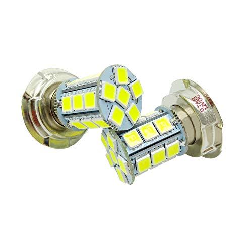 JAYUN Lampadina per auto P26S 24 SMD 5050 LED moto faro per auto, 12VDC, bianco, confezione da 2