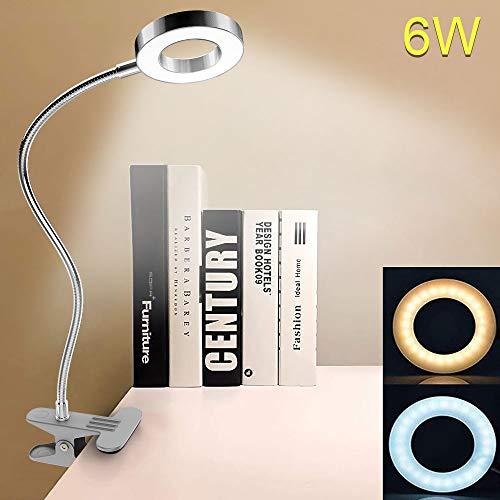 DLLT 6W LED Klemmlampe Bett USB Klemmleuchte Kinder, 360° flexibler Schwanenhals, 480LM, Leselampe Schrebitisch mit 2 Lichtfarben Kaltweiß/Warmweiß für Lesen Studieren Buch Kinderzimmer(Kein Adapter)