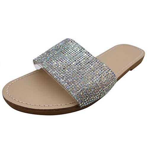 Renile Damen Sommer Modetrend Flip Flops Flacher Boden offene Zehen Strass Sandalen lässige Strandschuhe Hausschuhe Freizeitschuhe Schuhschnalle Gürtel