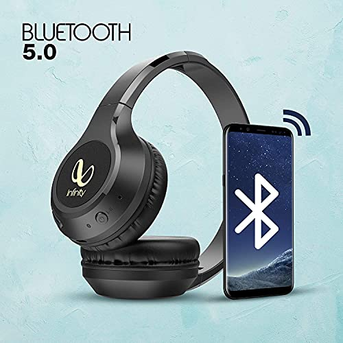 Infinity Glide 500 by Harman (JBL, HK, Infinity), 20 Hrs Playtime with Quick Charge, Wireless On Ear Headphone with Mic, Deep Bass, Dual Equalizer, Bluetooth 5.0 with Voice Assistant Support (Black)