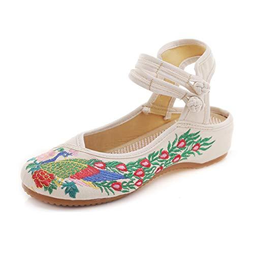GYUANLAI Sandalias Bordadas de Lona para Mujer Pavo Real y Estampado de Flores Hebilla Recorte Posterior Zapatos de Baile con Suela Oxfords