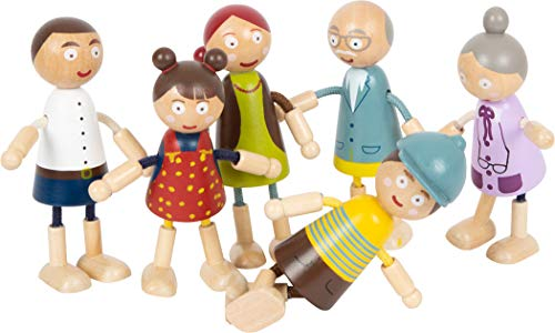 Small Foot 11804 Biegepuppen-Familie aus Holz, detaillreich, flexibel und strapazierfähig, ab DREI Jahren Toys
