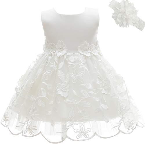 AHAHA Baby Mädchen Prinzessin Kleid Blumenmädchenkleid Taufkleid Festlich Kleid Hochzeit Partykleid Festzug Babybekleidung 24M/20-26monat Weiß 2