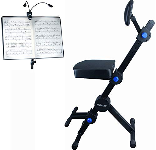 Quik Lok Guitar/Keyboard Performer and DJ Deluxe Seat, Piano Chair, Orchestra Bench w/Padded Adjustable Backrest w/Ivation Music Clip Light