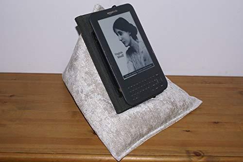 """Edge Beanbags Techbed: Sitzsackkissen für iPad, iPad Mini, alle Tablets bis 9,7 """", eBook-Reader und Bücher. (Silber)"""