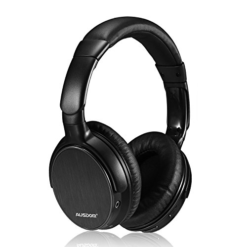 Ausdom Lightweight Stereo Wired Wireless Headset Bluetooth 4.0 EDR Over Ear Audiophile Headphones, Deep Bass with Microphone and Volume Control for PC Mac Computers Cell Phones - Black