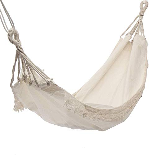 Hanging Canvas Leisure Hammock Chair, Brazilian Double Hammock 2 Person Extra Large Cotton Hammock, Garden Hammock,white