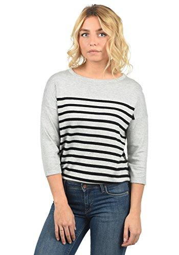 ONLY Liese Damen Strickpullover Feinstrick Pullover Mit Rundhals Und Streifenmuster, Größe:M, Farbe:Light Grey Melange/Black Stripes