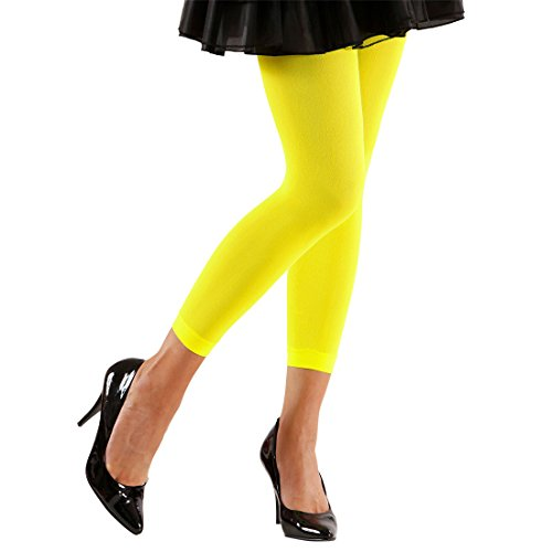 NET TOYS 80er Jahre Leggins 70 DEN Damen Strumpfhosen neon gelb Stretchhose Leggings Legging Hose Aerobic