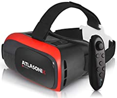 "✅BONUS: REMOTE CONTROL FOR ANDROID PHONES – Atlasonix virtual VR glasses work with smartphones and mobile devices with 4""- 6.3"" screens to bring you a totally immersive visual experience. Boasting HD optimization and 3D gaming support, you'll put you..."