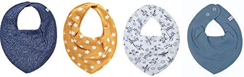 Pippi Halstuch 4er Set Baby Halstücher Dreieckstücher für Mädchen + Jungen (*Yellow Star + Plane)