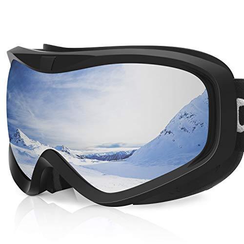 devembr Skibrille für Brillenträger Herren & Damen, Snowboardbrille Klar,Anti Fog,OTG,Helmkompatible,Winddicht,Schneebrille für Skifahren Snowboard Wintersport,Schwarzer Rahmen,Silberne Linse (VLT 8%)