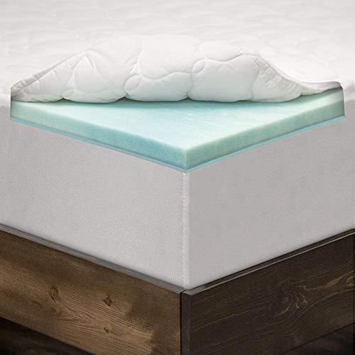 eLuxurySupply 3 Inch Pillow Top Memory Foam Mattress Topper Twin - Dual Layer Bamboo Mattress Pad - Queen
