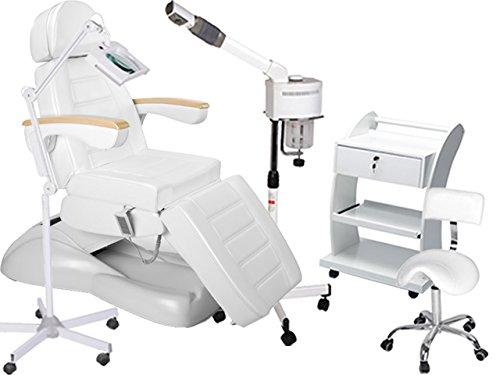 Kosmetikkabine Liege massageliege physiotherapie Bedampfer Lupenlampe Arbeitsstuhl Beistelltisch 900273a weiß