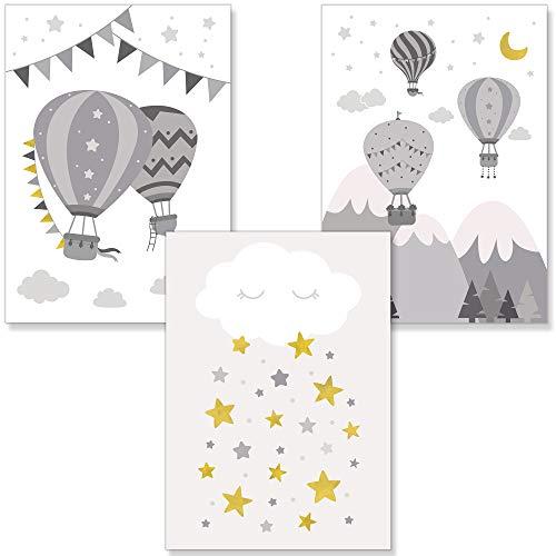 PREMYO Bilder Kinderzimmer Deko Mädchen Jungen - Heißluft-Ballon Poster Set Babyzimmer - Wandbilder Schlafzimmer Unisex