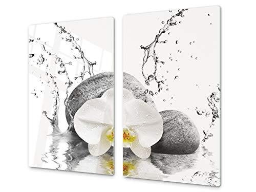 Cubre vitros de cristal templado - Tabla para cortar de cristal – Tabla para amasar y protector de vitro – UNA PIEZA (60 x 52 cm) o DOS PIEZAS (30 x 52 cm); D06 Serie Flores: Orquídea 4