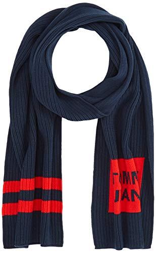 Tommy Hilfiger Rib - Knit Logo Scarf Sciarpa, Blu (Blue 0ia), Unica (Taglia Produttore: OS) Uomo