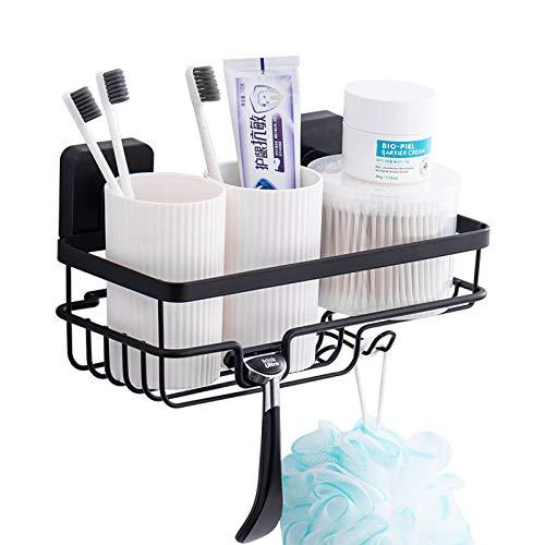 ORZ Kleiner Badezimmer-/Küchenregal mit Saugnapf, Aufbewahrungskorb für Becher, Badeschwamm, Luffa, Gewürze, Saucenflaschen, 25,4 x 14,7 cm, Schwarz