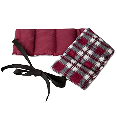 Cojín de lino de 7 cámaras con cinta, 65 x 15 cm, cojín de calor, cojín de grano, espalda y lumbar, 65 x 15 cm, cojín de semillas de lino, franela, cuadros rojos