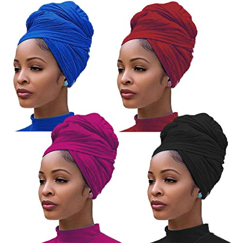 4 Pieces Stretch Jersey Turban Head Wrap Knit Headwraps Urban Hair Scarf Solid Color Ultra Soft Extra Long Breathable Head Band Tie for Women