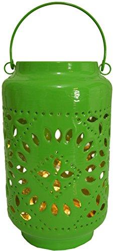Guru-Shop Metalen Lantaarn, Lantaarn, Tuinlantaarn in 5 Kleuren, Groen, Metaal, Kleur: Groen, 25x15x15 cm, Theelichthouder Kaarshouder