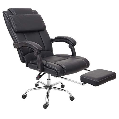 Mendler Relax-Bürostuhl HWC-G23, Schreibtischstuhl Drehstuhl Chefsessel, Fußstütze Kunstleder schwarz
