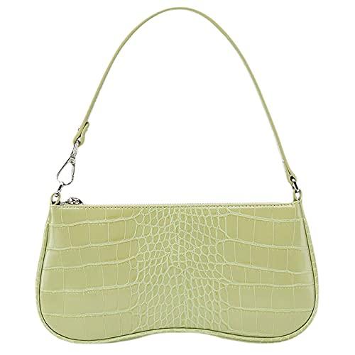 JW PEI 90s Shoulder Bag for Women Vegan Leather Crocodile Purse Mini Clutch Bag Trendy (Light Green)