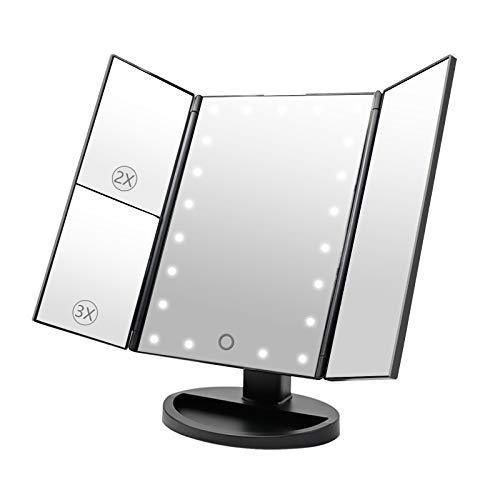 Dolovemk Miroir de maquillage LED - Grossissements x1/x2/x3 - Capteur tactile pour allumer/é pile AAA et micro USB - Angle réglable - Triple inclinaisons avec support basculant