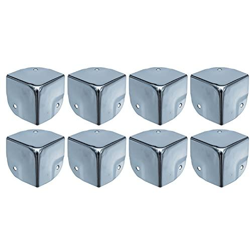 HMF 14966-09 - Protectores de esquinas de metal para maleta, 8 unidades, 40 x 40 x 40 mm, color plateado galvanizado