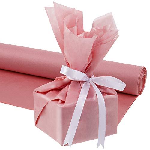 Heyu-Lotus 100 Blatt Geschenkpapier Seidenpapier, 50 x 35 cm Metallisches Geschenkpapier für Hochzeiten, Geburtstagsfeiern, Duschen, Basteln (Roségold)