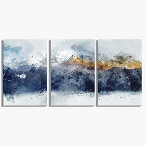 Abstract Canvas Wall Art for Living Room Modern Navy Blue Abstract Mountains Print Poster Picture product image